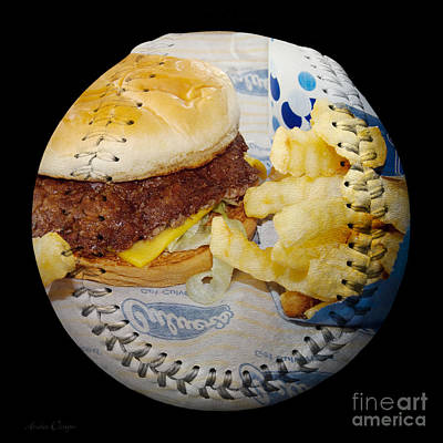 Burger And Fries Baseball Square Art Print by Andee Design