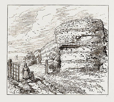Burgh Drawing - Burgh Castle, Social Science Congress At Norwich Uk 1873 by Litz Collection