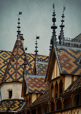 Photograph - Burgundian Polychrome Tile Rooftops On The Hotel Dieu by Carla Parris