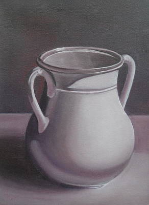 Earthenware Urn Painting - Burgundy Amphora by Anna Ruzsan