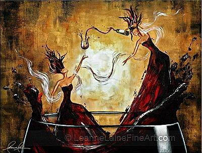 Wine Art Painting - Burgundy Ballet - Iwd Special Edition Wine Art Painting by Leanne Laine