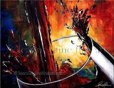 Wine Rack Painting - Burgundy Bliss Wine Art Painting by Leanne Laine
