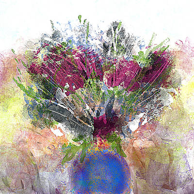 Painting - Burgundy Bouquet In A Blue Vase by Jessica Wright