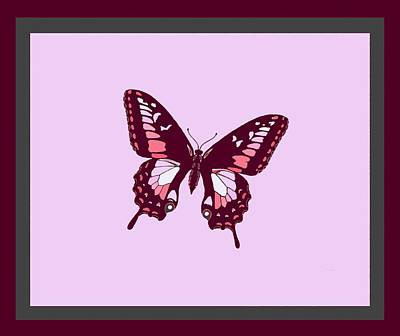 Burgundy Butterfly Light Background 2 Borders Art Print by L Brown