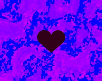Burgundy Heart Blue Violet Pattern Kam Art Print