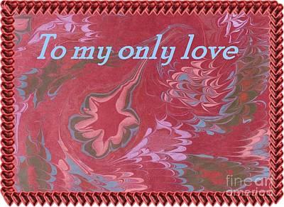 Digital Art - Burgundy Swirl Valentine Card  by Barbie Corbett-Newmin