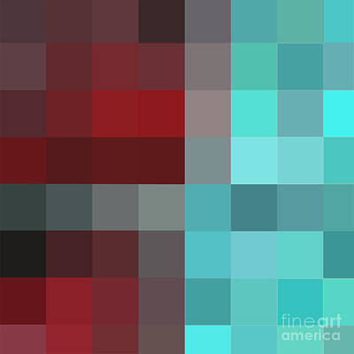 Burgundy Tartan II Abstract Pixel Art Digital Mixed Media Painting By Megan Duncanson Art Print by Megan Duncanson
