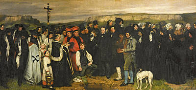 Grave Photograph - Burial At Ornans, 1849-50 Oil On Canvas by Gustave Courbet