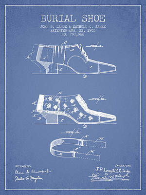 Shoe Digital Art - Burial Shoe Patent From 1905 - Light Blue by Aged Pixel