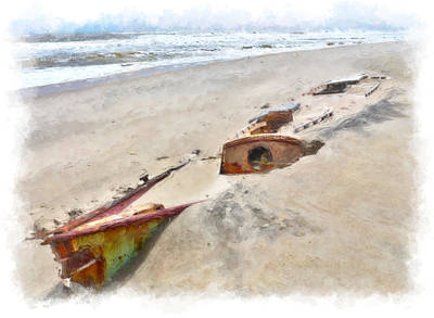 Sand Dunes Painting - Buried Treasure - Shipwreck On The Outer Banks II by Dan Carmichael