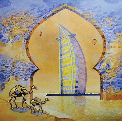 Dubai Skyline Painting - Burj Al Arab And Camels by Art Tantra