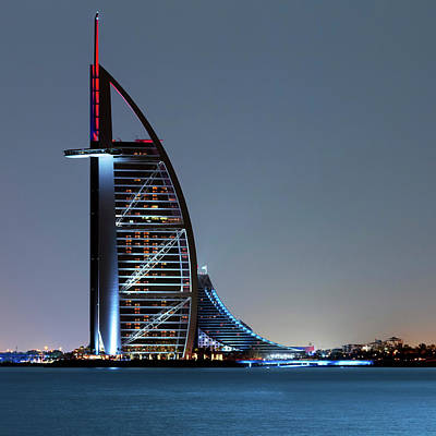 Moonlit Night Photograph - Burj Al Arab Hotel by Babak Tafreshi