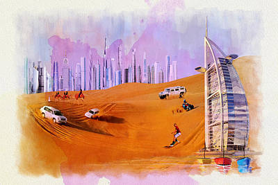 Dubai Skyline Painting - Burj Arab Skyline by Corporate Art Task Force