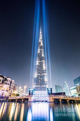 Emirates Photograph - Burj Khalifa With Light Beams - Dubai - Uae by Matteo Colombo