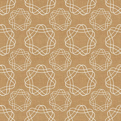 Burlap And White Geometric Flowers Art Print