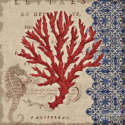 Linen Wall Art - Painting - Burlap Coral Iv by Paul Brent
