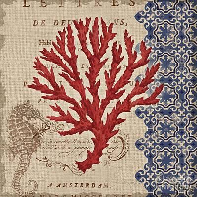 Burlap Coral Iv Art Print by Paul Brent