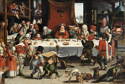 Table Cloth Painting - Burlesque Feast by Jan Mandijn