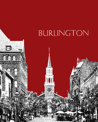 Burlington Vermont Skyline - Dk Red Art Print by DB Artist