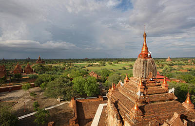 Simple Beauty In Colors Photograph - Burma Myanmar, Buddhist Pagoda Bagan by Chris Caldicott