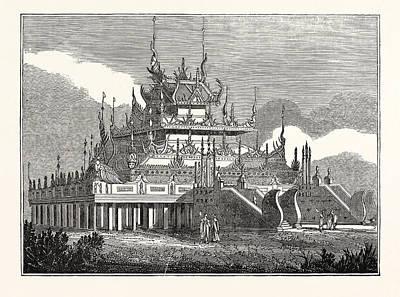 Burmese Python Drawing - Burmese Kioum, Or Royal Convent by English School