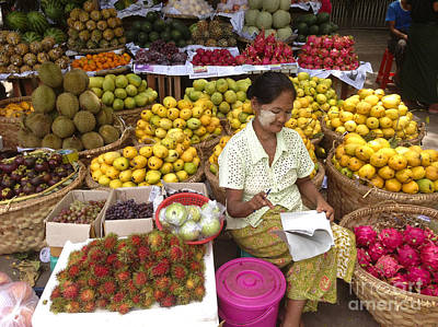 Photograph - Burmese Lady Selling Colourful Fresh Fruit Zay Cho Street Market 27th Street Mandalay Burma by Ralph A  Ledergerber-Photography