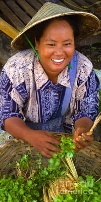 Photograph - Burmese Lady Selling Fresh Bunches Of Coriander Zay Cho Street Market 27th Street Mandalay Burma by Ralph A  Ledergerber-Photography