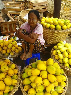 Photograph - Burmese Lady Selling Fresh Mangoes Zay Cho Street Market 27th Street Mandalay Burma by Ralph A  Ledergerber-Photography