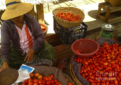 Photograph - Burmese Lady Selling Fresh Tomatoes Zay Cho Street Market 86th Street Mandalay Burma by Ralph A  Ledergerber-Photography