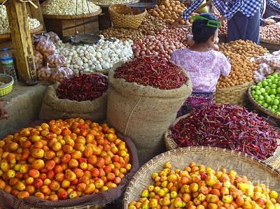Photograph - Burmese Lady Selling Fruit And Vegetables Zay Cho Street Market 27th Street Mandalay Burma by Ralph A  Ledergerber-Photography