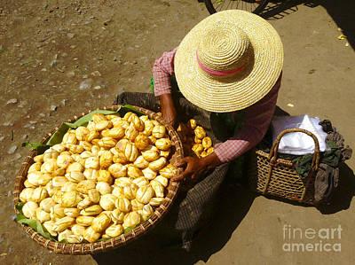Photograph - Burmese Lady Sorting Fresh Toddy Palm Fruit Zay Cho Street Market 27th Street Mandalay Burma by Ralph A  Ledergerber-Photography