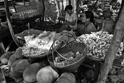 Photograph - Burmese Market Bw by RicardMN Photography