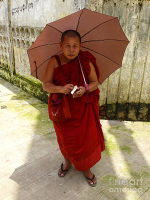 Photograph - Burmese Monk On Bogyoke Road Next To Yangon Central Railway Station Burma by Ralph A  Ledergerber-Photography