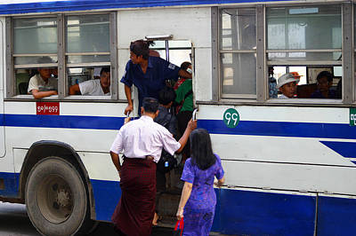 Burmese Using Public Transport Yangon Myanmar Art Print by PIXELS  XPOSED Ralph A Ledergerber Photography