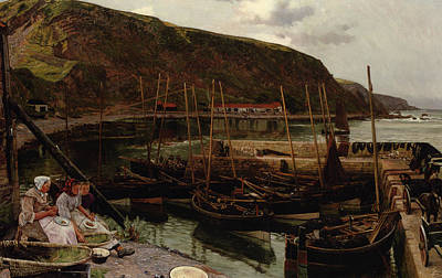 Row Boat Digital Art - Burmouth Berwickshire by Charles William Hemy