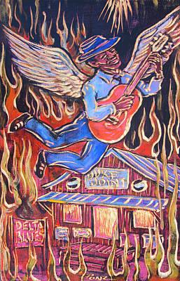 Burnin' Blue Spirit Art Print by Robert Ponzio