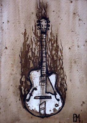 Burnin Guitar Original by Pete Maier