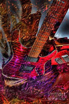 Burnin It Up Digital Guitar Art By Steven Langston Art Print by Steven Lebron Langston