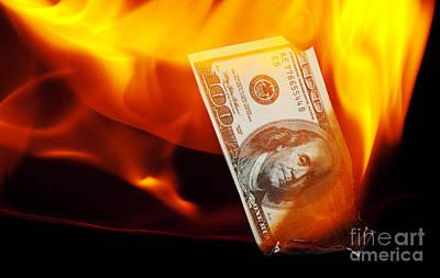 Burning Money Photograph - Burning A Hundred Dollar Bill by Jonathan Welch