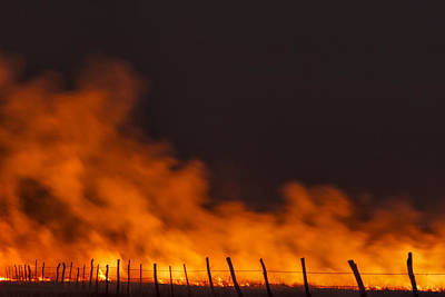 Photograph - Burning Along The Fence - A Night Burn In The Flint Hills by Scott Bean