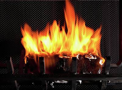 Burning Biofuel Log Art Print