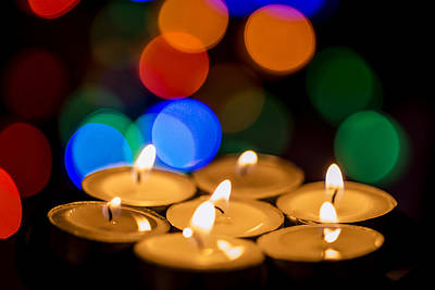 Diwali Photograph - Burning Candles With Colorful Bokeh by Vishwanath Bhat