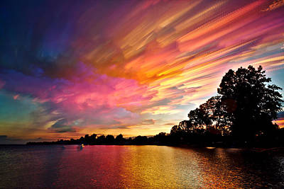 Water Reflections Digital Art - Burning Cotton Candy Flying Through The Sky by Matt Molloy