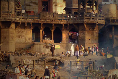 Cremation Ghat Photograph - Burning Ghats by Annie Curry