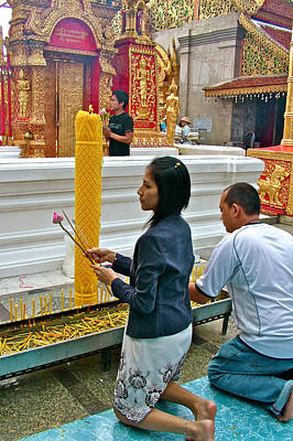Burning Incense At Wat Phrathat Doi Sutep In Chiang Mai-thailand Print by Ruth Hager