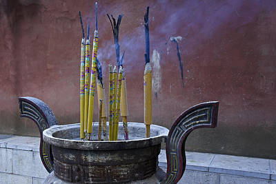 Photograph - Burning Incense In Chinese Temple by Michele Burgess