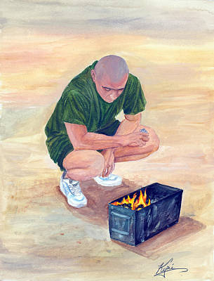 Fire Gear Painting - Burning Letters From Home by Annette Redman