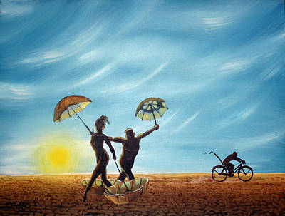 Burning Man - Danseurs De Parasol Art Print