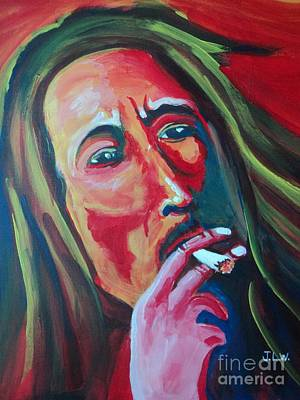Art Print featuring the painting Burning Marley by Justin Lee Williams