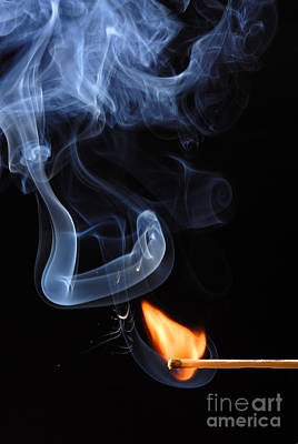 Outdoor Graphic Tees - Burning Match and Smoke by Andrzej Tokarski